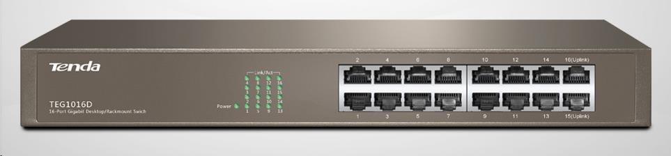 Tenda TEG1016D 16-port Gigabit Ethernet Switch, 10/100/1000 Mbps, fanless, rackmount