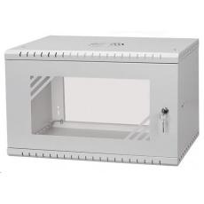 """LEXI 19"""" nástěnný rozvaděč Basic 6U, šířka 520mm, hloubka 350mm, skleněné dveře, bez zad, šedý"""