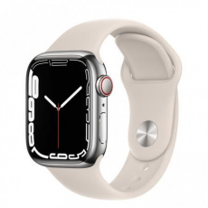 Apple Watch Series 7 Cell, 41mm Silver/Steel Case/Starlight SportBand