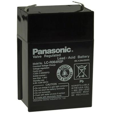 Baterie - Panasonic LC-R064R5P (6V/4,5Ah - Faston 187), životnost 6-9let