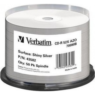 VERBATIM CD-R(50-Pack)Spindle/Shiny/ Silver AZO 52x/700MB