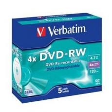 VERBATIM DVD-RW(5-pack)Jewel/4x//DLP/4.7GB