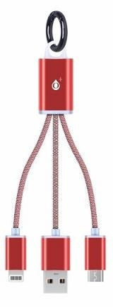 """PLUS nabíjecí kabel 8047 """"2v1"""", konektory micro USB a Lightning, červená"""