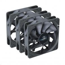 AKASA ventilátor Viper, Black Fan 12cm, 120x120x25mm, HDB, 4 pin PWM, 3ks v balení