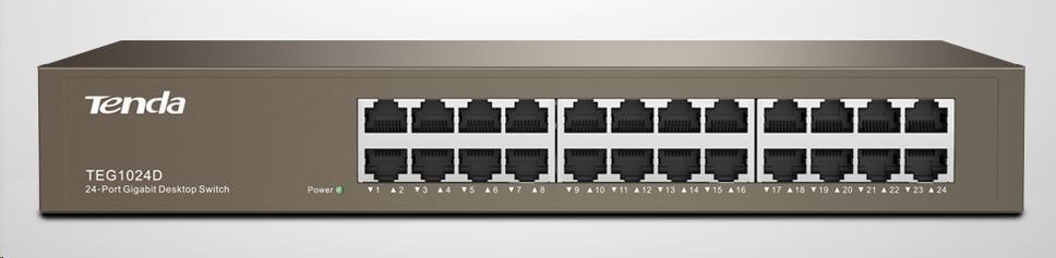 Tenda TEG1024D 24-port Gigabit Ethernet Switch, 10/100/1000 Mbps, fanless, rackmount
