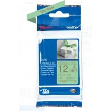 BROTHER TZE-RM34 - kazeta TZ šířky 12mm, TEXTILNÍ páska 4m- pro tvorbu dárků - NELEPÍCÍ - MÁTOVÁ PÁSKA, ZLATÝ POTISK