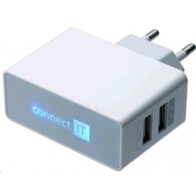 CONNECT IT USB nabíječka POWER CHARGER se dvěma USB porty 2,1A/1A, bílá